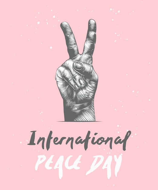 International peace day with sketch of gesture Premium Vector