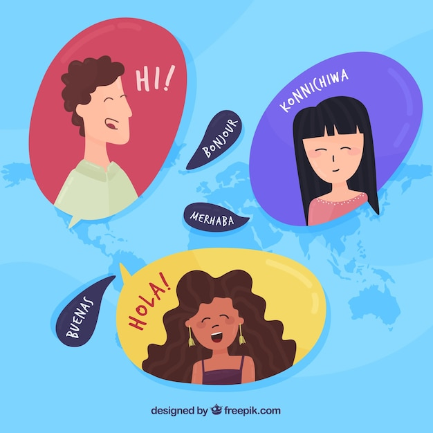 International people speaking different languages Free Vector
