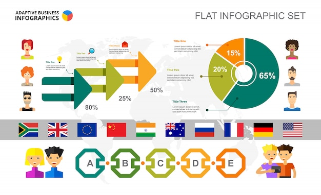 international relations percentage and pie chart template vector