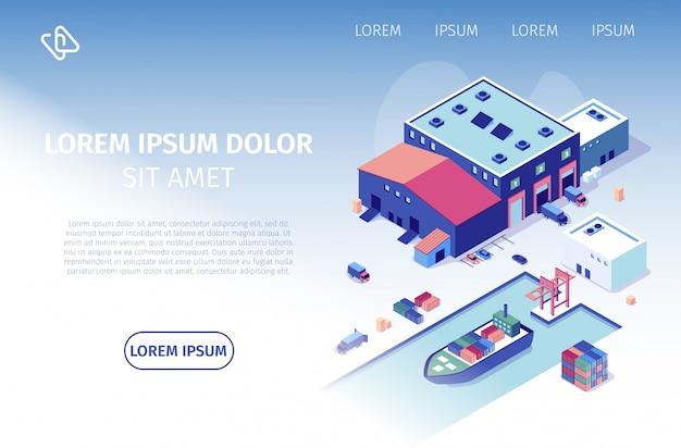 International shipping company vector website Vector