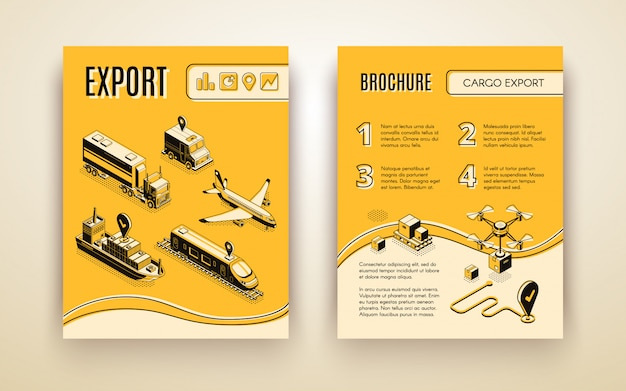International shipping service brochure Free Vector