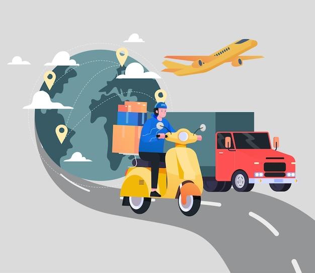 Premium Vector | International shipping service illustration