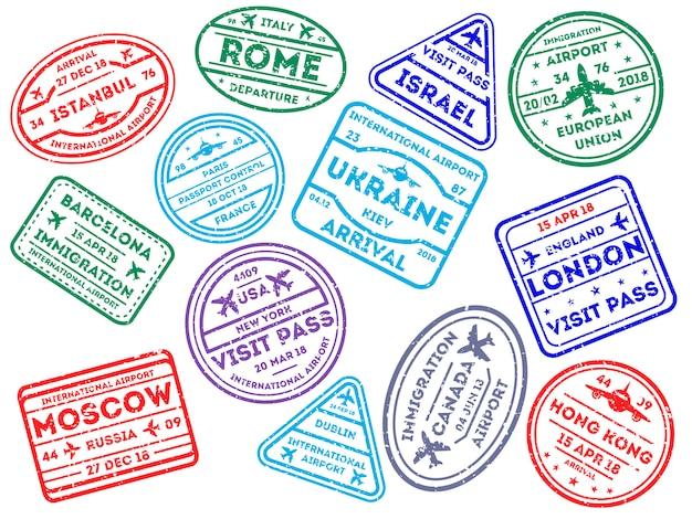 International travel stamps on white Premium Vector