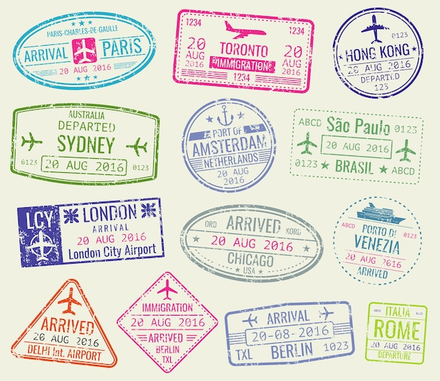 International travel visa passport stamps vector set. paris and toronto, hong kong and port of amste Premium Vector