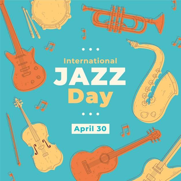 国際ヴィンテージジャズデイ楽器祭 無料ベクター