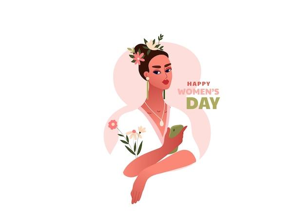 국제 여성의 날. 3 월 8 일. 꽃과 스마트 폰으로 강한 행복 한 여자. 아름다운 여성과 템플릿 프리미엄 벡터
