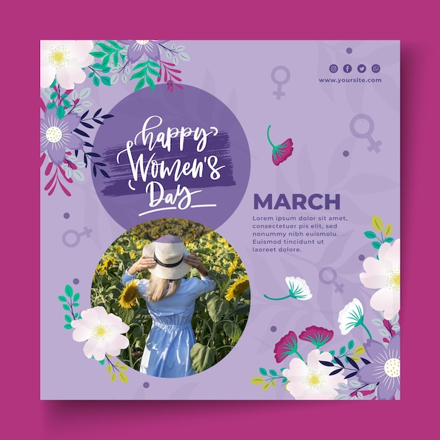 International women day flyer template Free Vector