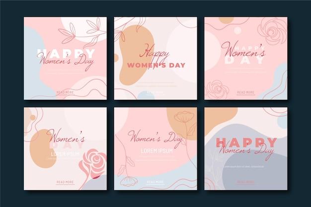 국제 여성의 날 instagram posts 무료 벡터