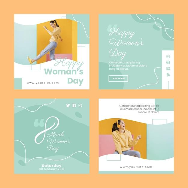 Международный женский день instagram посты Бесплатные векторы