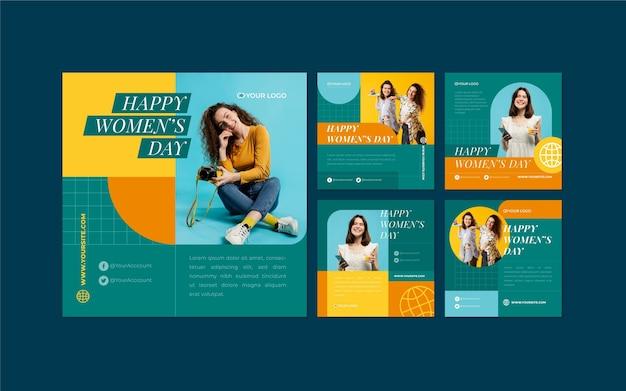 International women day instagram posts Free Vector