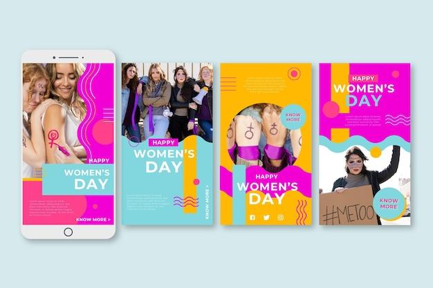 International women day instagram stories Free Vector