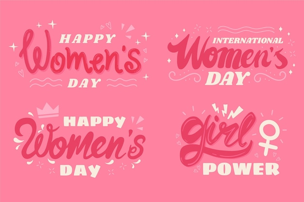 International women day lettering labels Free Vector