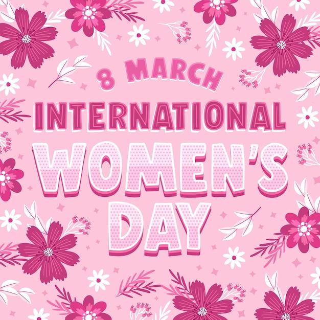 International women day lettering Free Vector