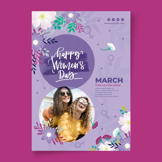 International women day poster template Free Vector