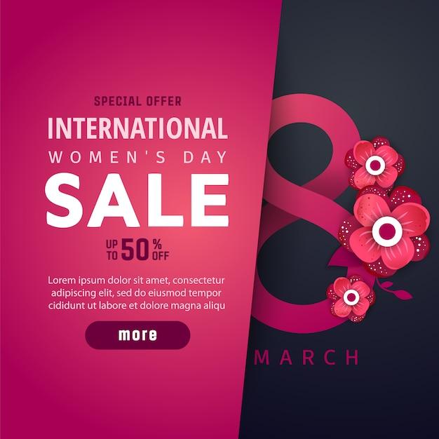 International women's advertising banner Premium Vector