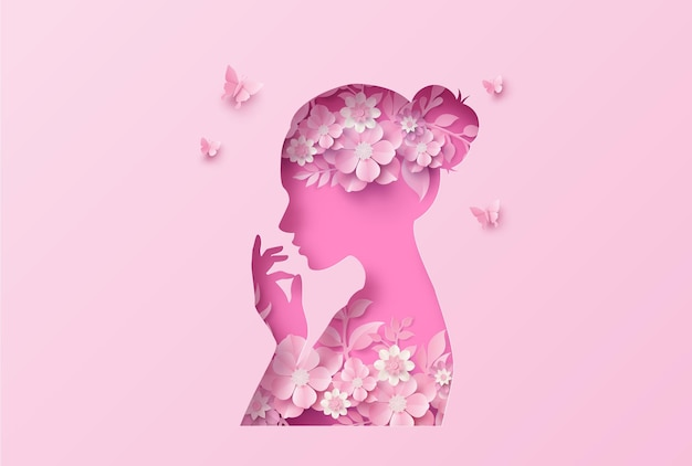 International women's day 8 march with frame of flower and leaves , paper art style. Premium Vector