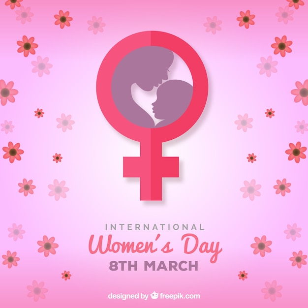 International women's day background in flat style Free Vector
