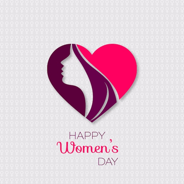 International women's day, background with a face in a heart Free Vector
