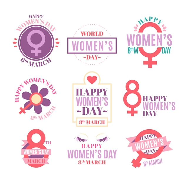 International women's day badge collection Free Vector