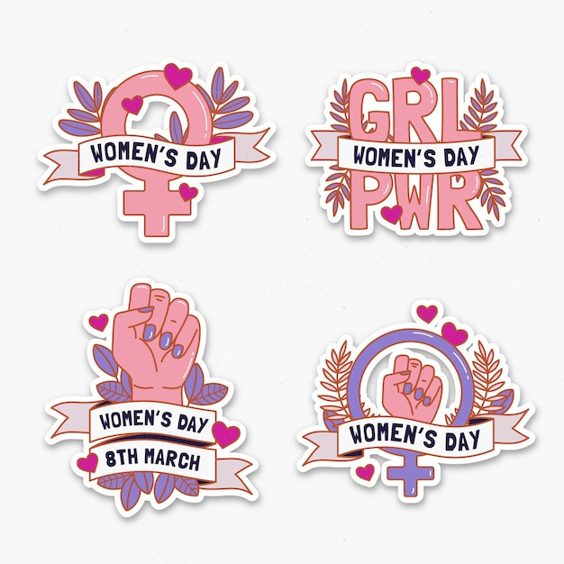 International women's day badge collection Premium Vector
