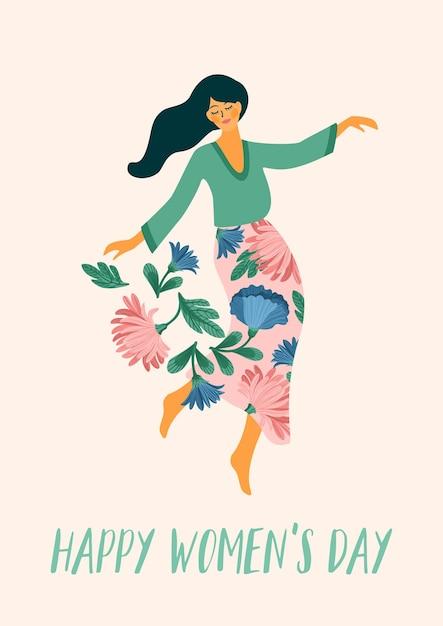 세계 여성의 날. 카드, 포스터, 전단지 및 기타 사용자를 위해 춤추는 여자와 꽃 프리미엄 벡터