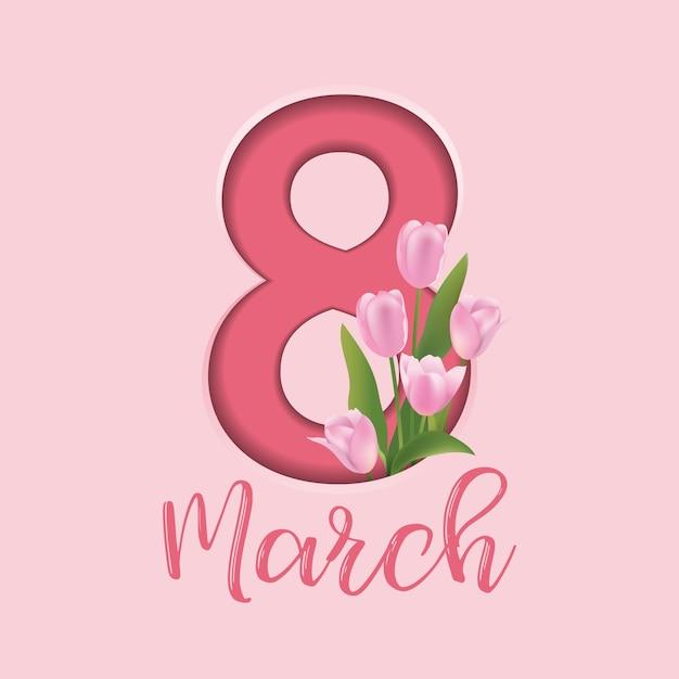 8と花の装飾が施された国際女性デーのグリーティングカード Premiumベクター