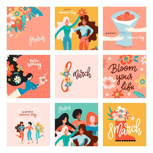 International women's day. greeting cards big set with women, flowers and lettering. Premium Vector