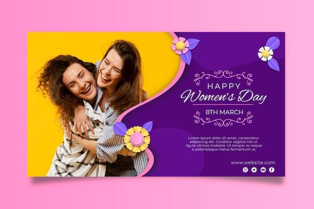 International women's day horizontal banner Free Vector
