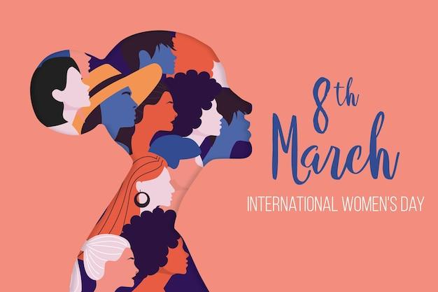 Международный женский день иллюстрация с профилем женщины Бесплатные векторы