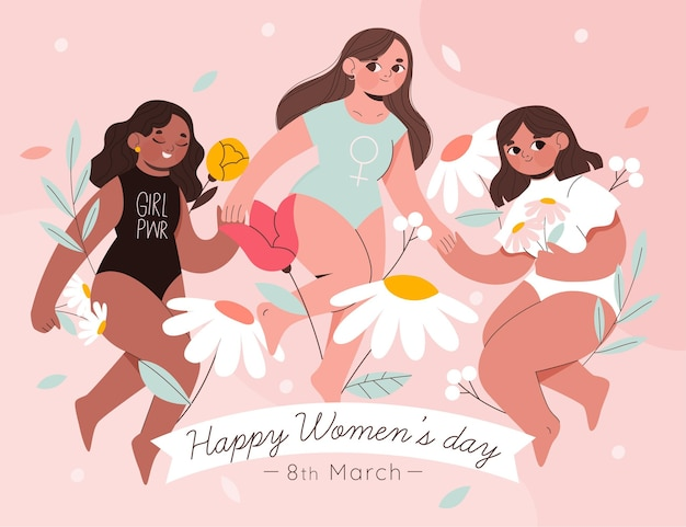 International women's day illustration with three women and flowers Premium Vector