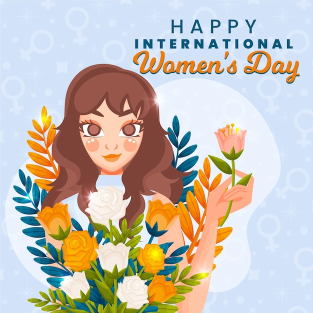 International women's day illustration with woman and flowers Premium Vector