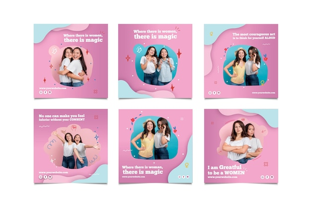International women's day instagram posts collection Free Vector