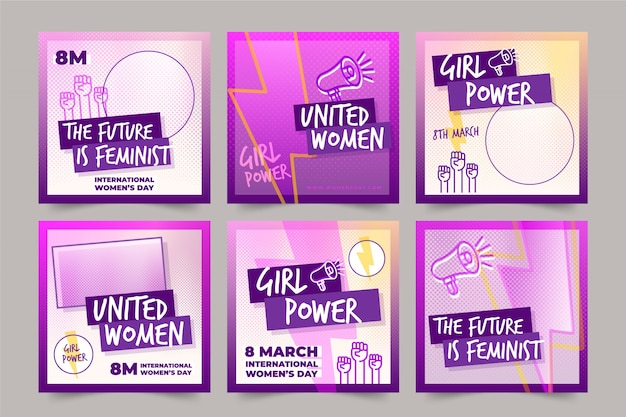 Коллекция постов в instagram к международному женскому дню Бесплатные векторы