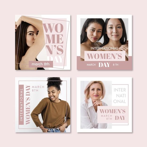 Raccolta di post su instagram per la giornata internazionale della donna Vettore gratuito