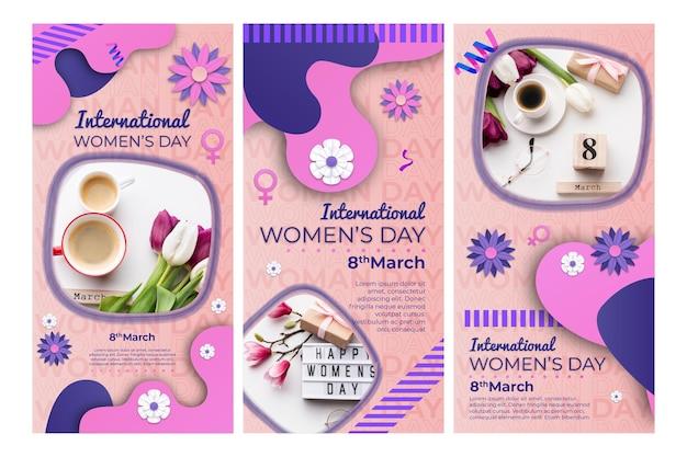 Набор историй instagram к международному женскому дню Бесплатные векторы