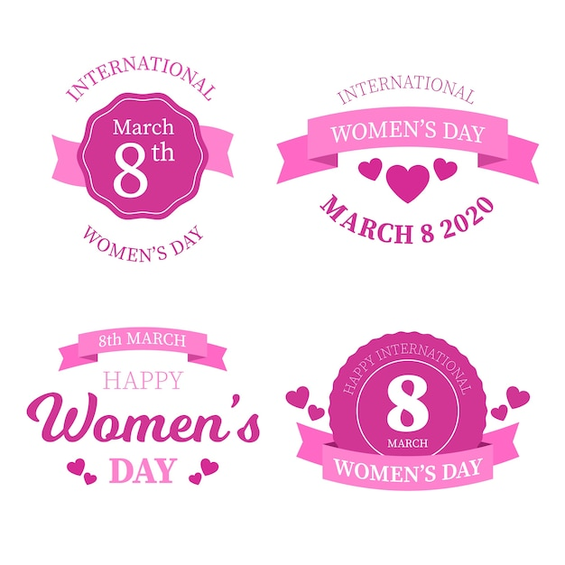 International women's day label collection Free Vector