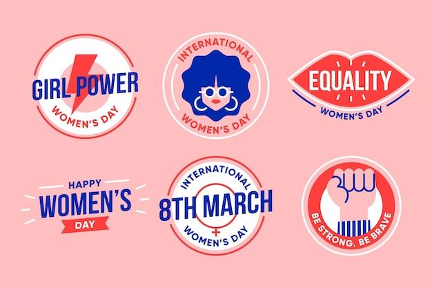 International women's day label collection Premium Vector