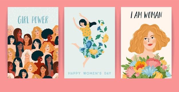 Международный женский день. набор карт, женщин разных национальностей и культур. борьба за свободу, независимость, равенство. Premium векторы