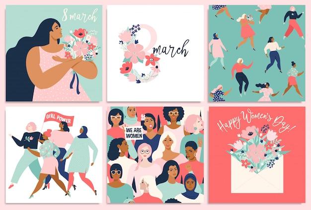 세계 여성의 날. 카드, 포스터, 전단지 및 기타 사용자를위한 템플릿. 프리미엄 벡터