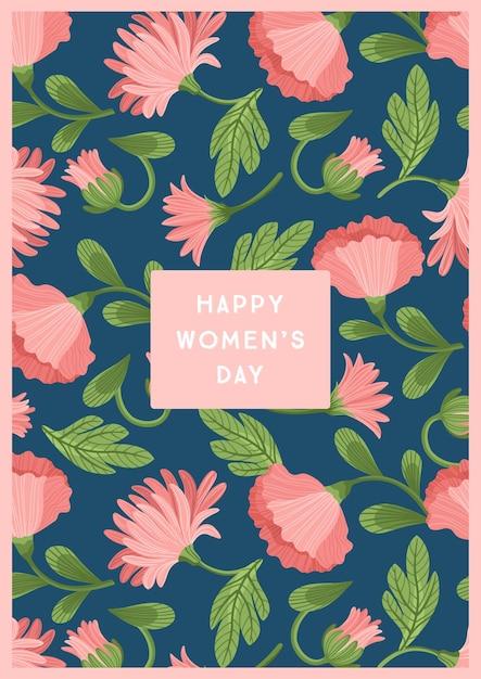 세계 여성의 날. 카드, 포스터, 전단지 및 다른 사용자를위한 아름다운 꽃 벡터 템플릿 프리미엄 벡터