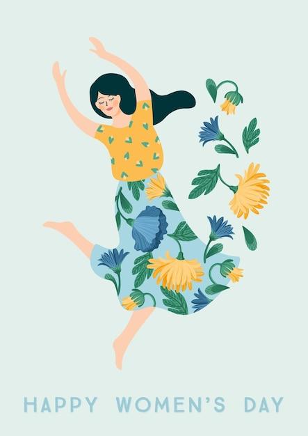 세계 여성의 날. 카드, 포스터, 전단지 및 다른 사용자를위한 춤 여자와 꽃 벡터 템플릿 프리미엄 벡터