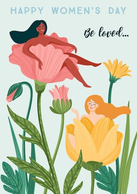 세계 여성의 날. 카드, 포스터, 전단지 및 기타 사용자를위한 여성과 꽃 벡터 템플릿 프리미엄 벡터