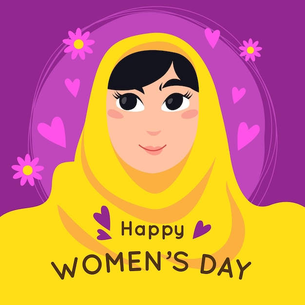 International women's day with greeting Free Vector