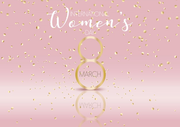 International womens day background with gold confetti Free Vector