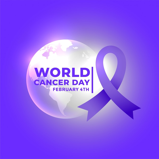 International world cancer day poster Free Vector