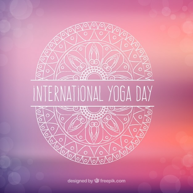 International yoga day background with hand\ drawn ornament