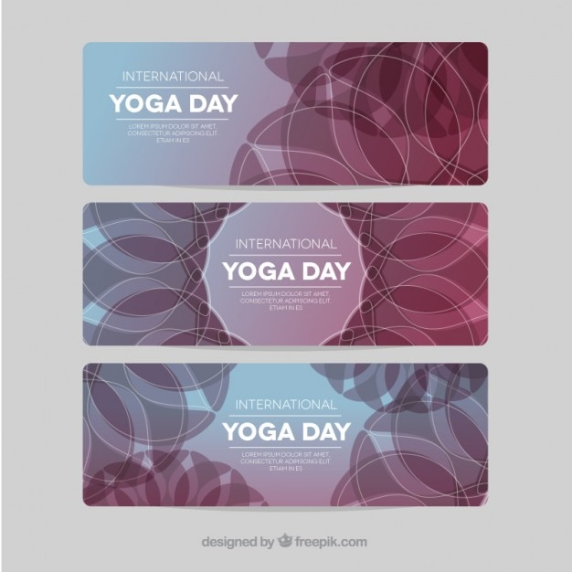 International yoga day banners pack