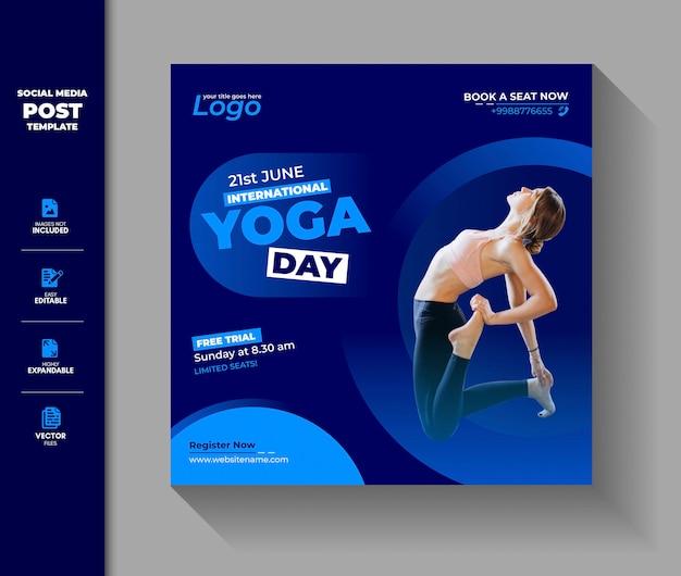 International yoga day social media post instagram banner Premium Vector