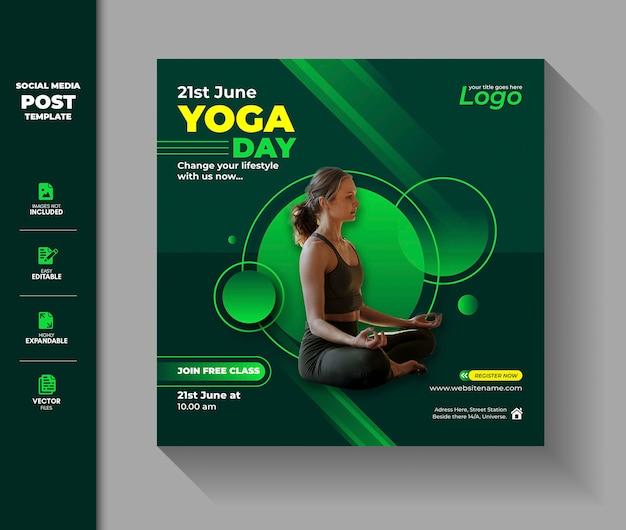International Yoga Day Social Media Post Instagram Square Banner Premium Vector