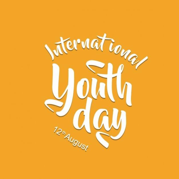 حروف بین المللی روز جوانان در یک پس زمینه زرد